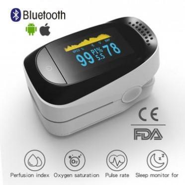 FDA外贸批发指夹式医疗OLED蓝牙新血氧PI睡眠心率监护便携检测器