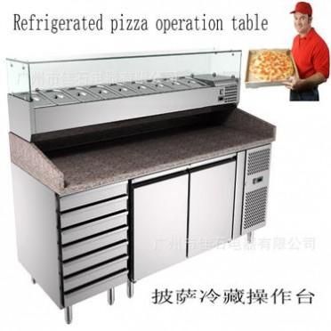 厂家直销Pizza refrigerated working table 沙拉冷藏柜 外贸货源