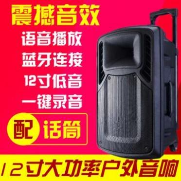 12寸广场舞音箱大功率户外便携式拉杆音箱蓝牙录音U盘无线话筒
